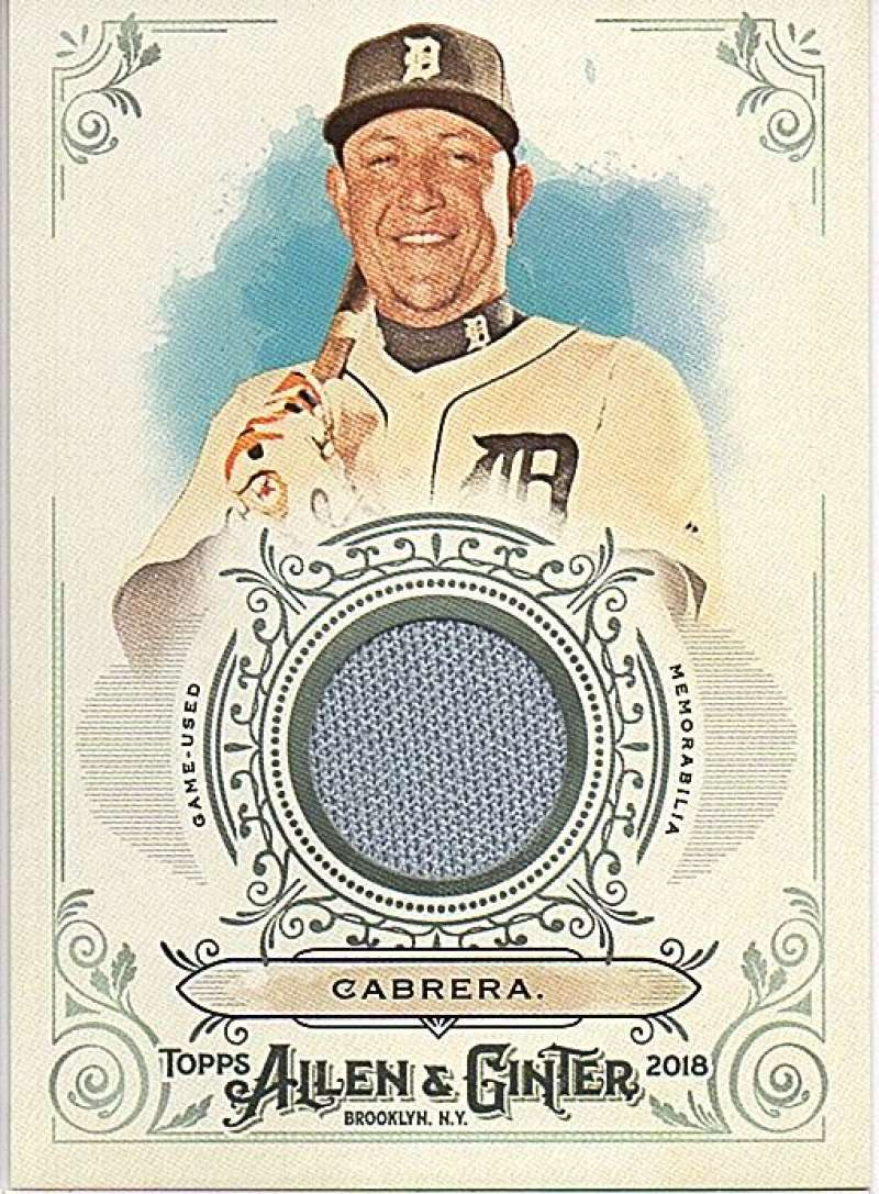 2018 Topps Allen and Ginter Relic #FSRB-MC Miguel Cabrera MEM Tigers Used Jersey Baseball Card