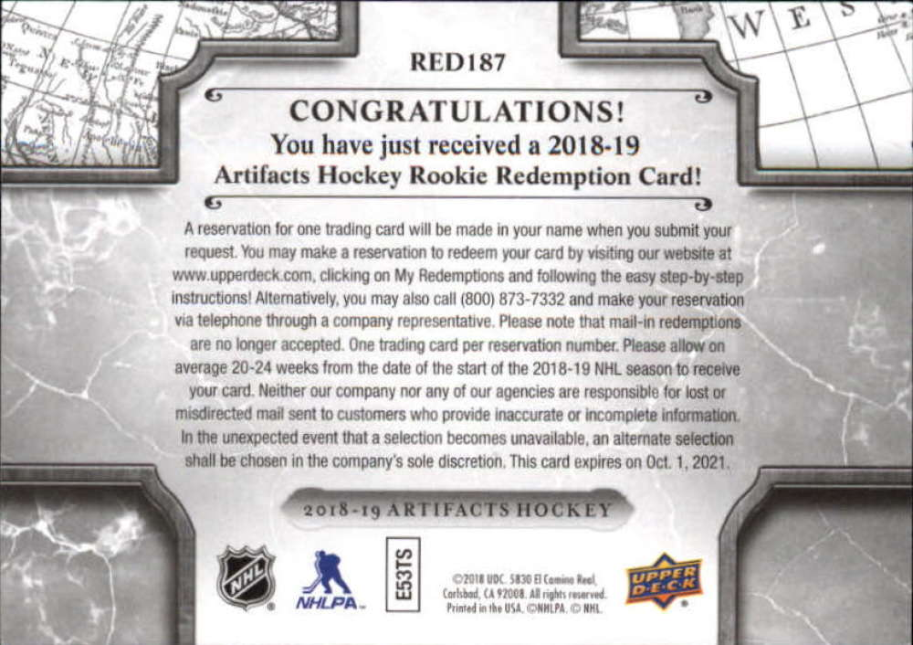 2018-19-Upper-Deck-Artifacts-Hockey-Rookie-Redemption-Singles-Pick-Your-Cards thumbnail 3