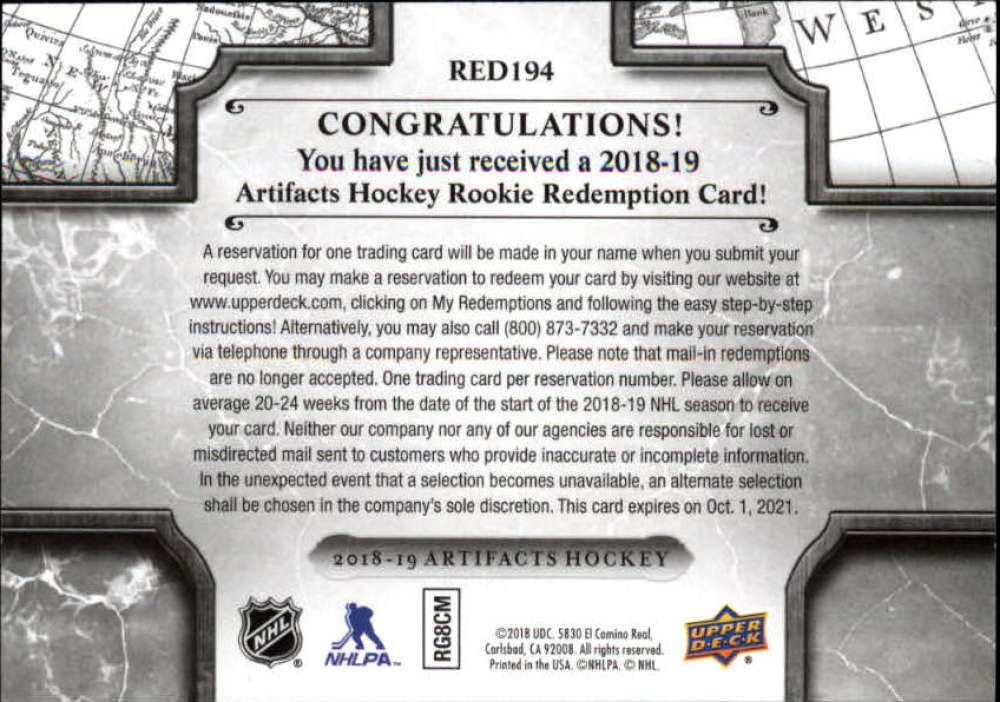 2018-19-Upper-Deck-Artifacts-Hockey-Rookie-Redemption-Singles-Pick-Your-Cards thumbnail 5