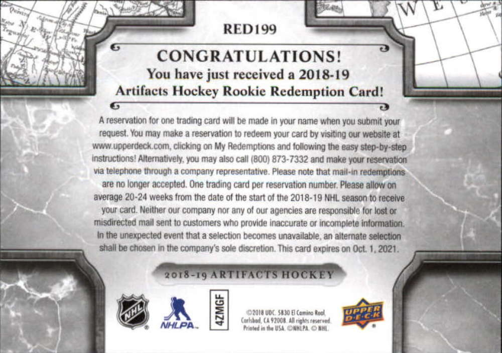 2018-19-Upper-Deck-Artifacts-Hockey-Rookie-Redemption-Singles-Pick-Your-Cards thumbnail 7