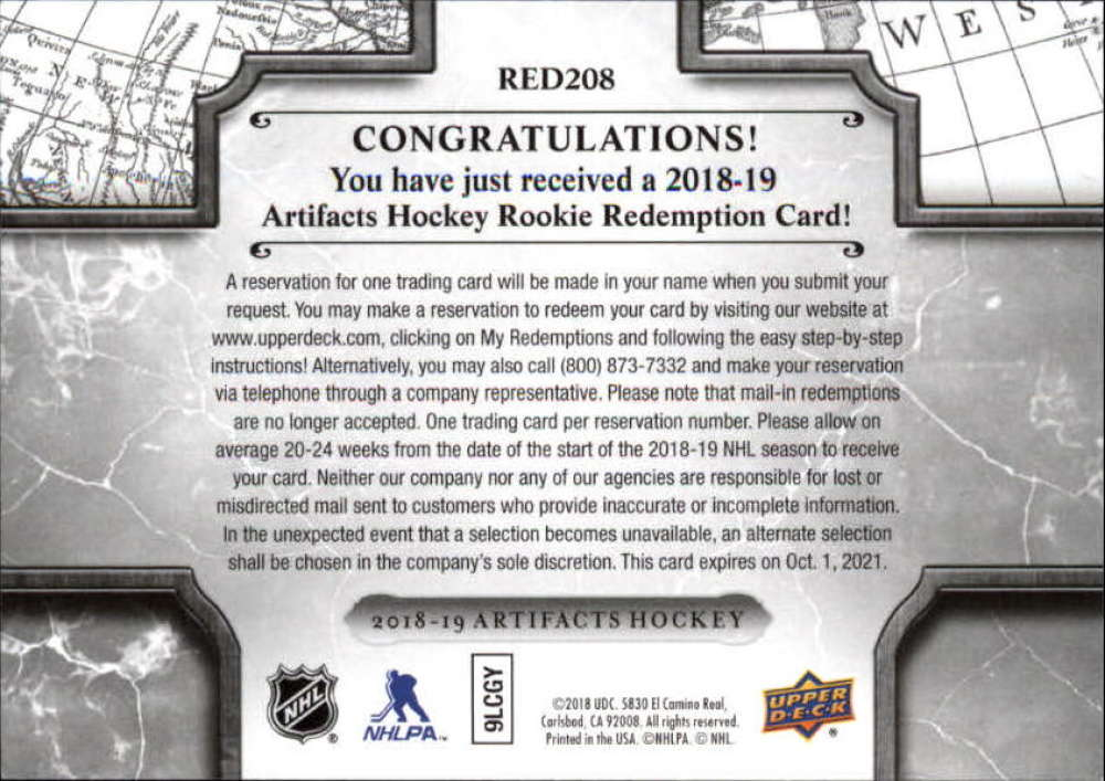 2018-19-Upper-Deck-Artifacts-Hockey-Rookie-Redemption-Singles-Pick-Your-Cards thumbnail 9
