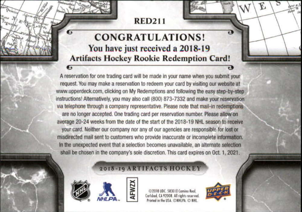 2018-19-Upper-Deck-Artifacts-Hockey-Rookie-Redemption-Singles-Pick-Your-Cards thumbnail 11