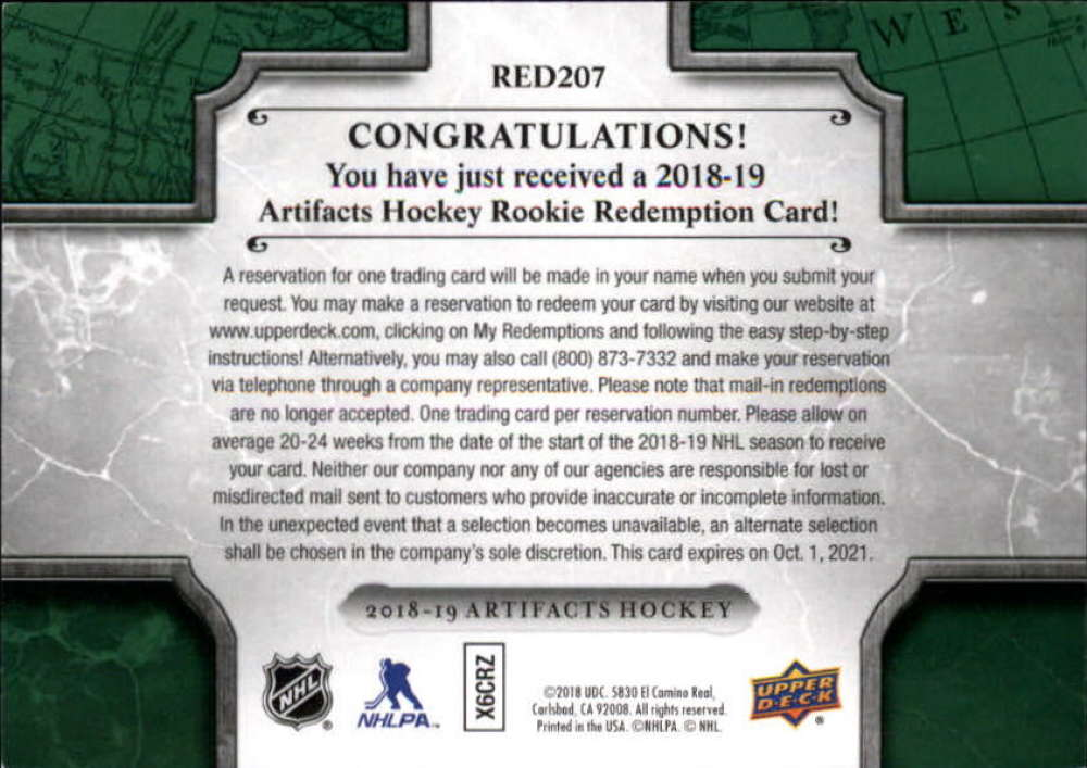 2018-19-Upper-Deck-Artifacts-Hockey-Rookie-Redemption-Singles-Pick-Your-Cards thumbnail 15