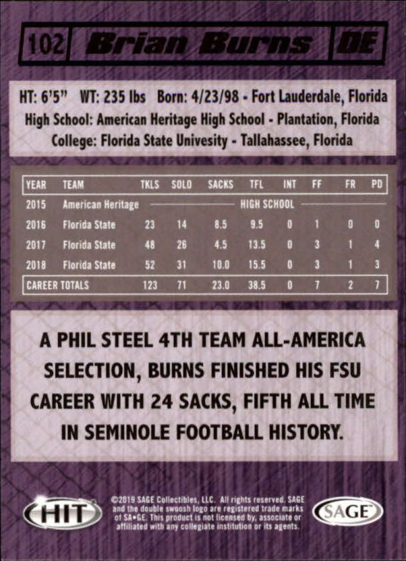 Details about 2019 SAGE Hit Premier Draft High Series Football Base Singles  (Pick Your Cards)