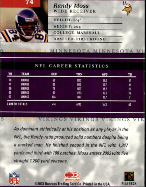 2003-Donruss-Elite-Football-Base-Singles-Pick-Your-Cards thumbnail 145