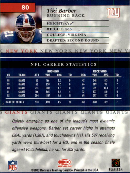 2003-Donruss-Elite-Football-Base-Singles-Pick-Your-Cards thumbnail 155