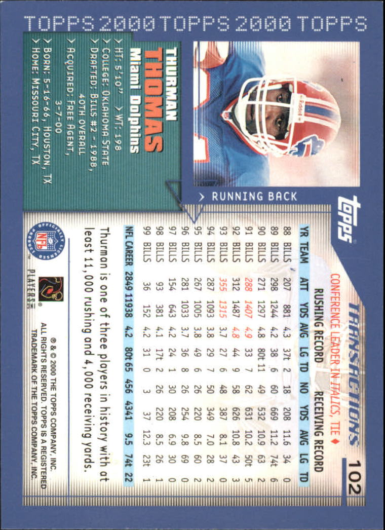2000-Topps-Football-Base-Singles-3-299-Pick-Your-Cards thumbnail 129