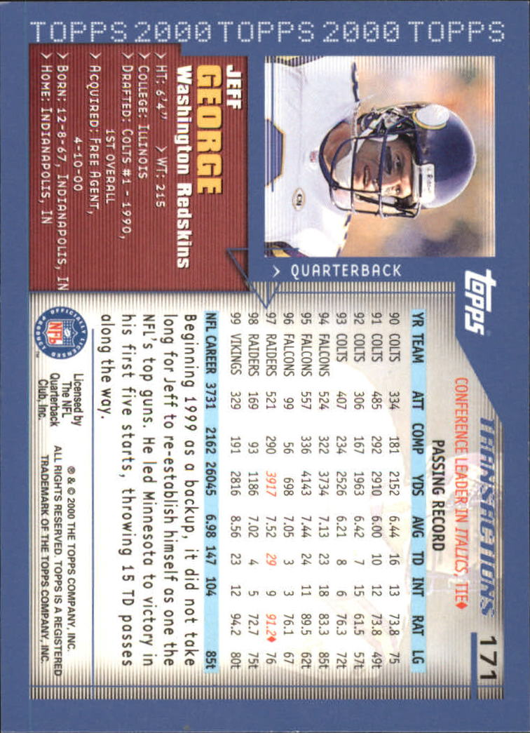 2000-Topps-Football-Base-Singles-3-299-Pick-Your-Cards thumbnail 227