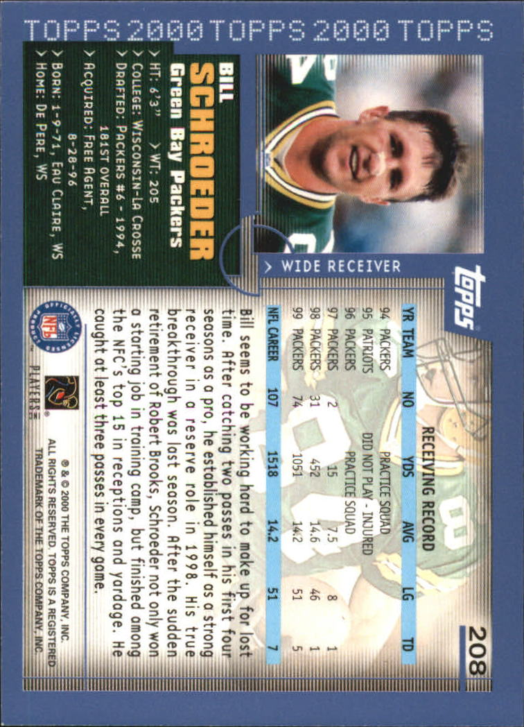 2000-Topps-Football-Base-Singles-3-299-Pick-Your-Cards thumbnail 287