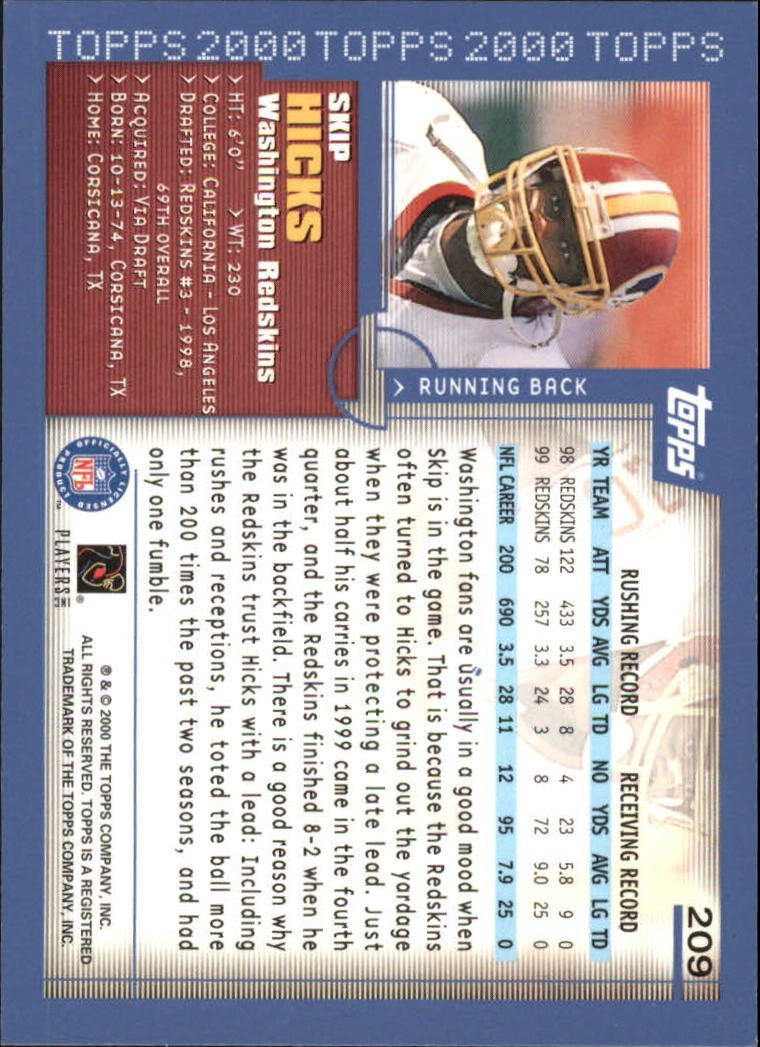 2000-Topps-Football-Base-Singles-3-299-Pick-Your-Cards thumbnail 289