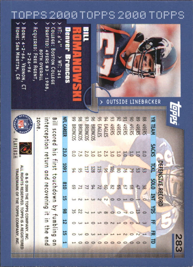 2000-Topps-Football-Base-Singles-3-299-Pick-Your-Cards thumbnail 387