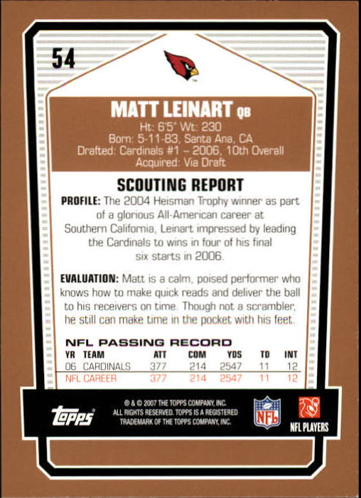 2007-Topps-Draft-Picks-and-Prospects-Football-Base-Singles-Pick-Your-Cards thumbnail 39
