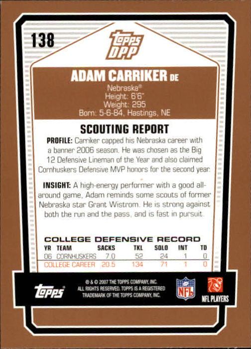 2007-Topps-Draft-Picks-and-Prospects-Football-Base-Singles-Pick-Your-Cards thumbnail 85