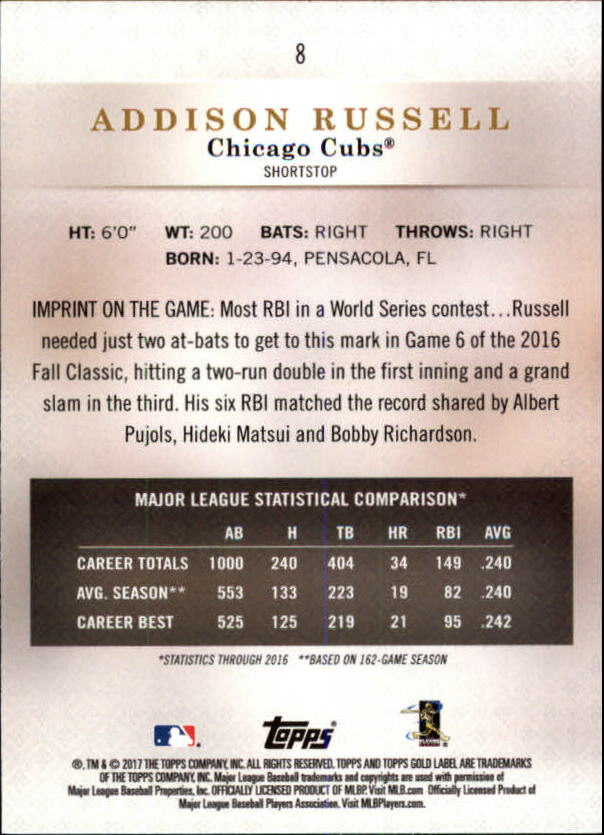 2017-Topps-Gold-Label-Baseball-Class-3-Singles-Pick-Your-Cards miniature 7