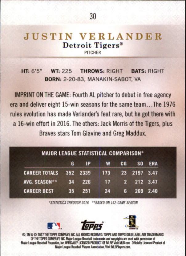 2017-Topps-Gold-Label-Baseball-Class-3-Singles-Pick-Your-Cards miniature 19
