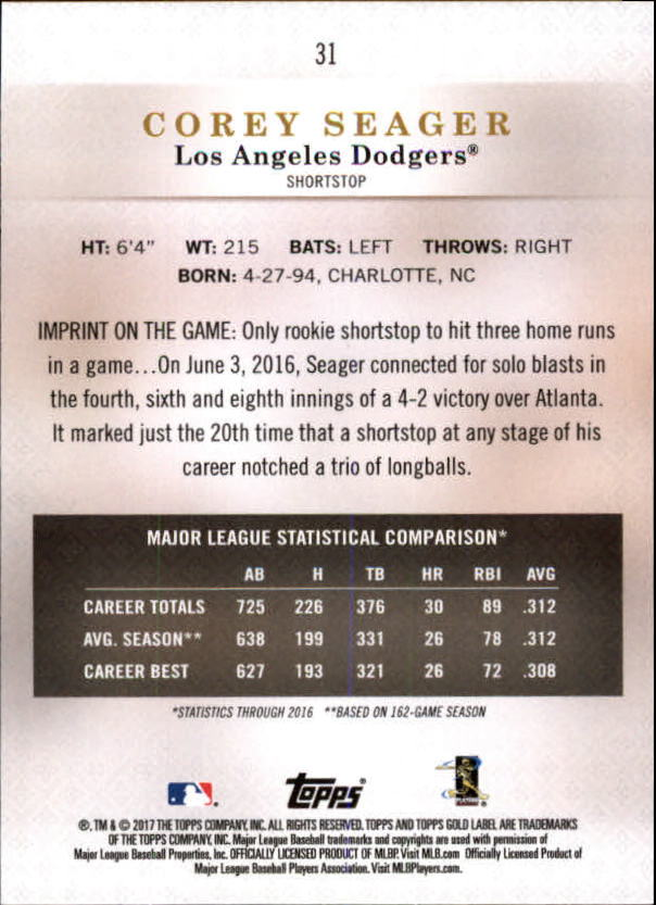 2017-Topps-Gold-Label-Baseball-Class-3-Singles-Pick-Your-Cards miniature 21