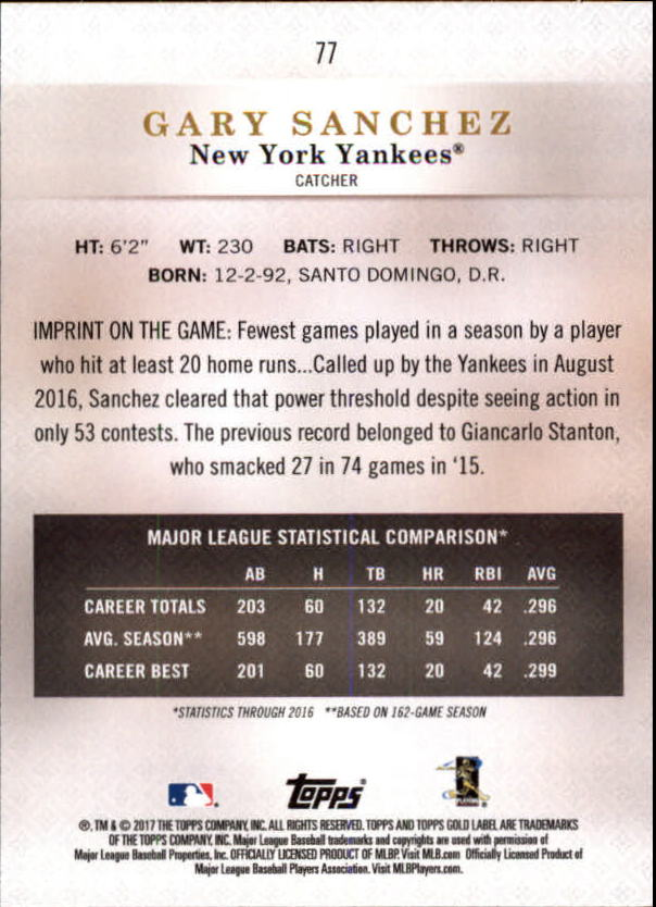 2017-Topps-Gold-Label-Baseball-Class-3-Singles-Pick-Your-Cards miniature 43