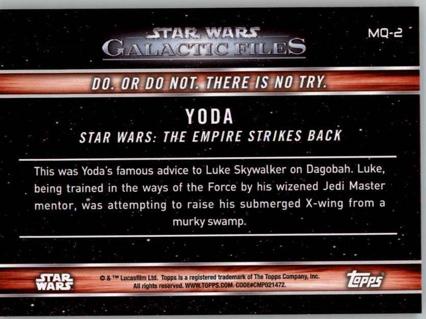 Details about 2017 Star Wars Galactic Files Reborn Famous Quotes Singles  (Pick Your Cards)