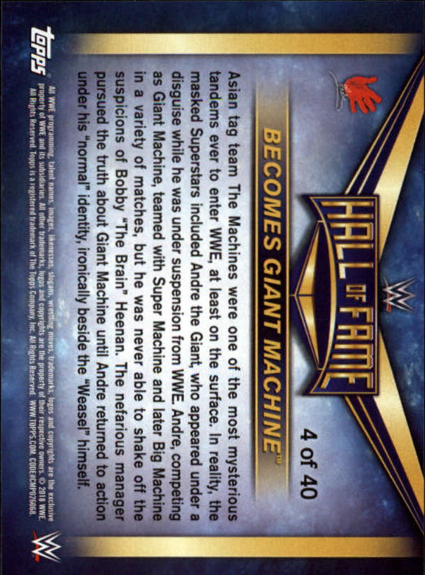 2018-Topps-WWE-Road-To-Wrestlemania-Hall-of-Fame-Tribute-Singles-Pick-Ur-Cards thumbnail 3
