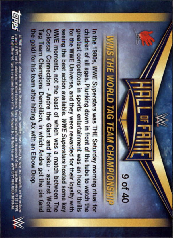 2018-Topps-WWE-Road-To-Wrestlemania-Hall-of-Fame-Tribute-Singles-Pick-Ur-Cards thumbnail 5